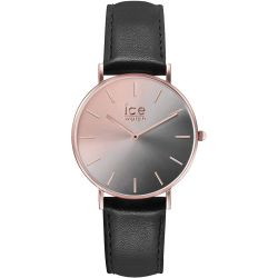 Ice Watch - Montre dégradé gris et doré rose femme bracelet cuir noir Ice City Sunset (015755)